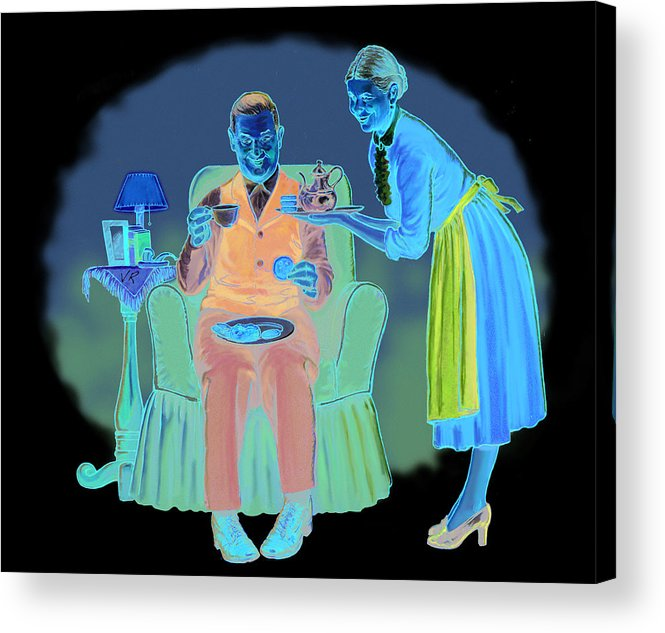 Retro Acrylic Print featuring the mixed media Two For Tea by Lash Larue