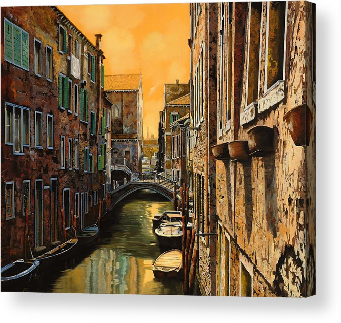 Venice Acrylic Print featuring the painting Venezia Al Tramonto by Guido Borelli