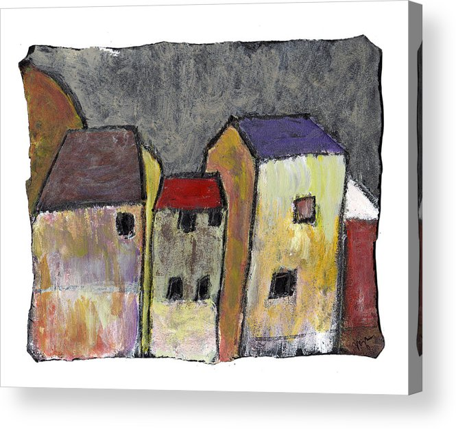 Buildings Acrylic Print featuring the painting Where Once There Was by Wayne Potrafka