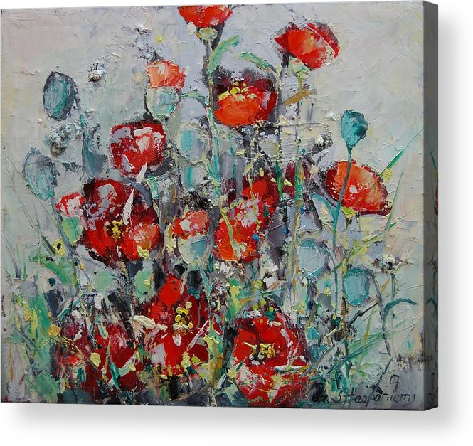 Flowers Acrylic Print featuring the painting Wild Poppies by Sari Haapaniemi
