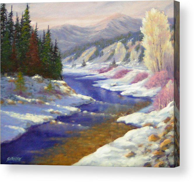 Landscape Acrylic Print featuring the painting Winter Revisited 070712-97 by Kenneth Shanika