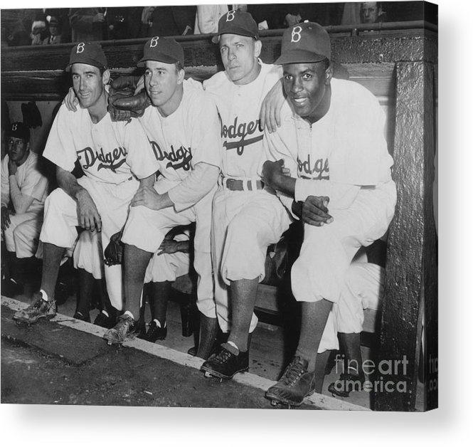 People Acrylic Print featuring the photograph Jackie Robinson And Pee Wee Reese by National Baseball Hall Of Fame Library