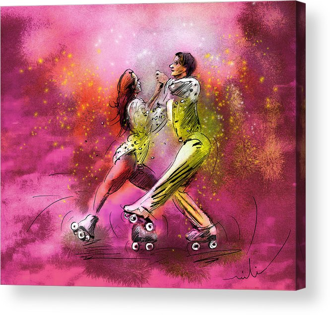 Sports Acrylic Print featuring the painting Artistic Roller Skating 01 by Miki De Goodaboom