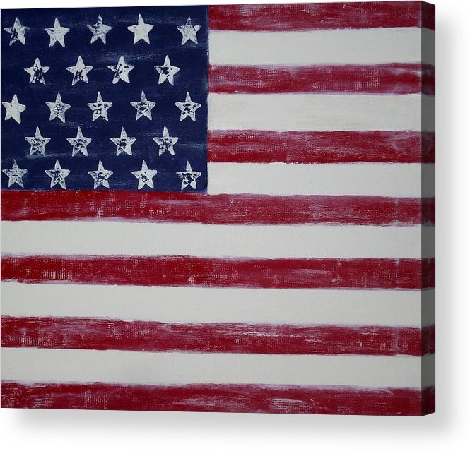 American Flag Acrylic Print featuring the painting Distressed American Flag by Holly Anderson