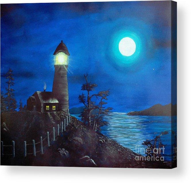 Full Moon And Lighthouse Digital Painting Acrylic Print