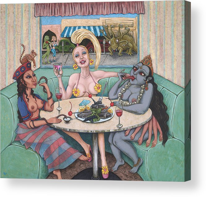 Goddesses Acrylic Print featuring the painting Goddess Lunch by Holly Wood