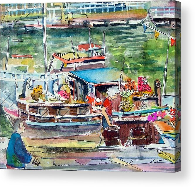 Boat Acrylic Print featuring the painting Paris House Boat by Mindy Newman