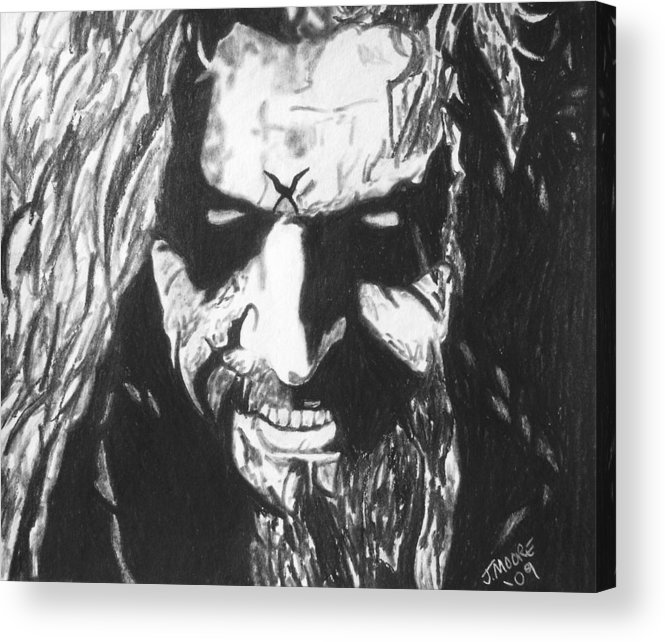 Rob Zombie Music Rock Heavy Metal Celebrity Icon Acrylic Print featuring the drawing Rob Zombie by Jeremy Moore