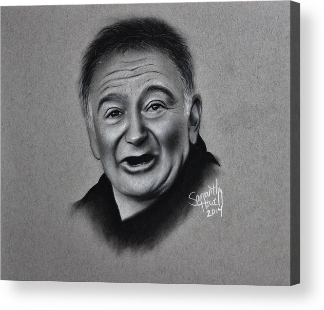 Robin Williams Acrylic Print featuring the drawing Robin Williams Tribute by Samantha Howell