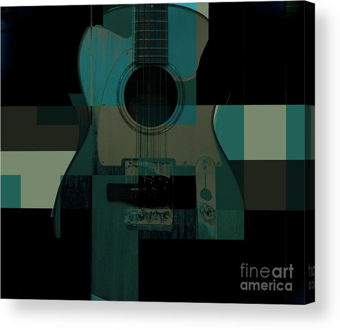 Guitar Acrylic Print featuring the mixed media Teal We Play Again by Eric Rasmussen