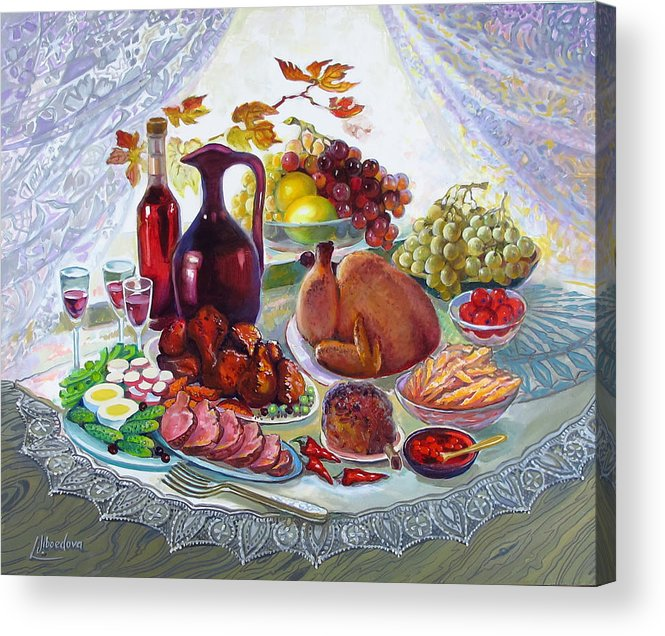 Oil On Canvas Acrylic Print featuring the painting The Feast by Lyubov Jiboedova