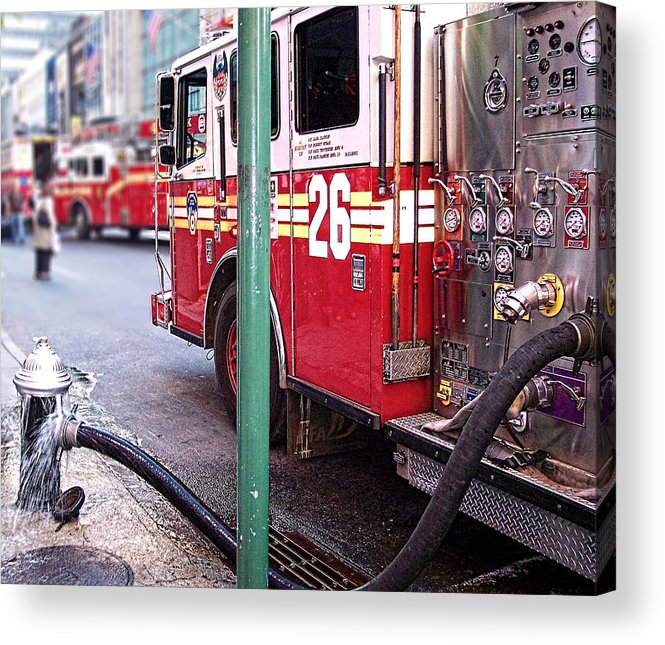 Fire Acrylic Print featuring the photograph The Fire Truck by Katie Abrams