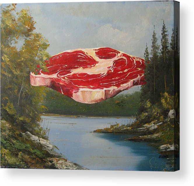 Meat Acrylic Print featuring the painting The Great Outdoors by David Irvine