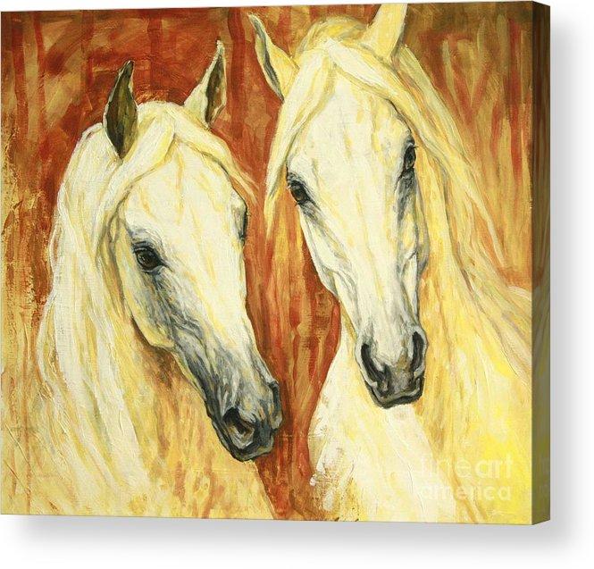 Horse Acrylic Print featuring the painting White Arabian Horses by Silvana Gabudean Dobre