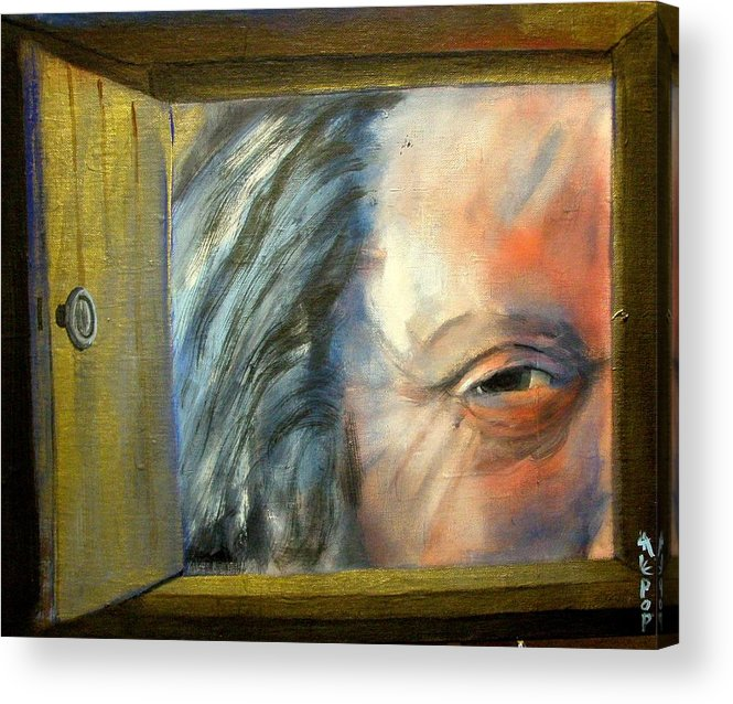 Door Acrylic Print featuring the painting Whose There by James Lalepop Becker