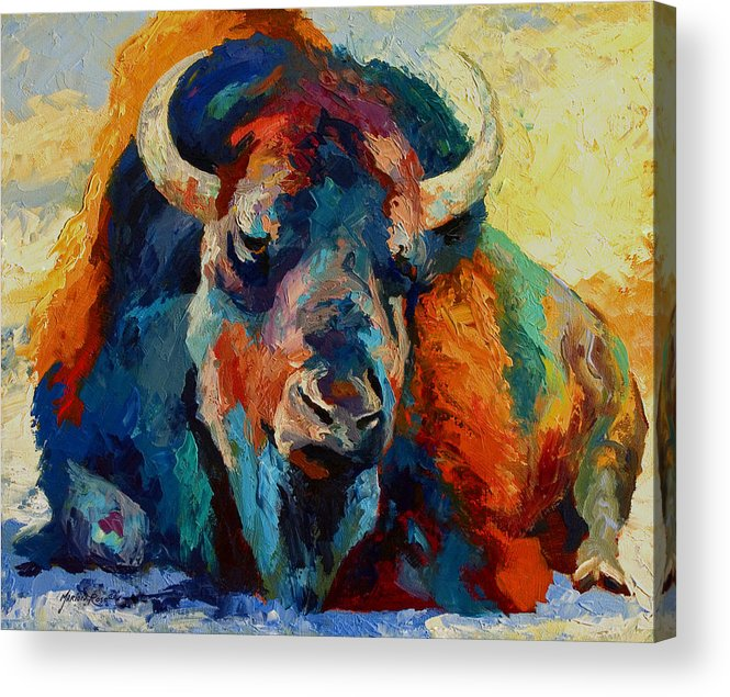 Wildlife Acrylic Print featuring the painting Winter Bison by Marion Rose