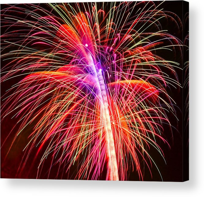United Acrylic Print featuring the photograph 4th Of July - Independence Day Fireworks by Gordon Dean II