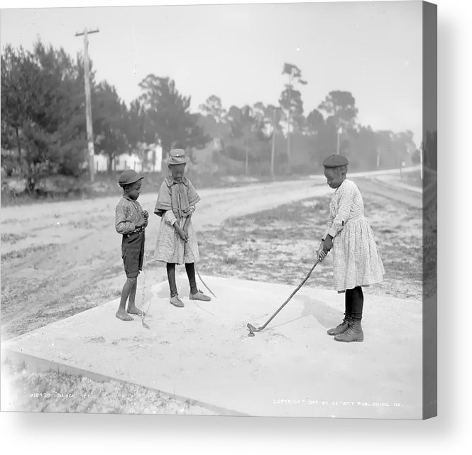 Golf Gulf Children Girl Boy Play Playing Black Vintage 1905 White Bw Acrylic Print featuring the photograph Children Playing Golf by Steve K