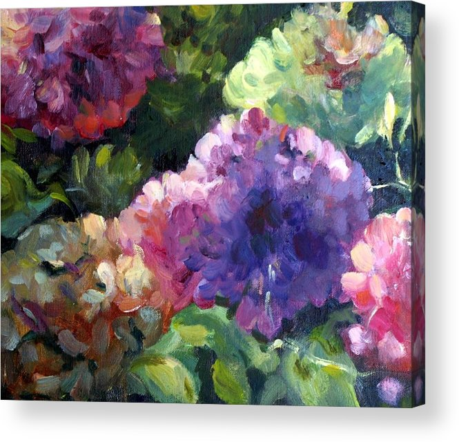 Hydrangea Purple Lavender Teal Green Pink Yellow Square Oilpainting Acrylic Print featuring the painting Hydrangea In Shadow by Elizabeth Taft