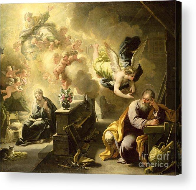 Saint Acrylic Print featuring the painting The Dream Of Saint Joseph by Luca Giordano