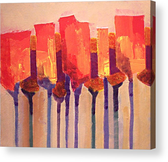 Impressionist Acrylic Print featuring the painting Afternoon Tulips by Dalas Klein