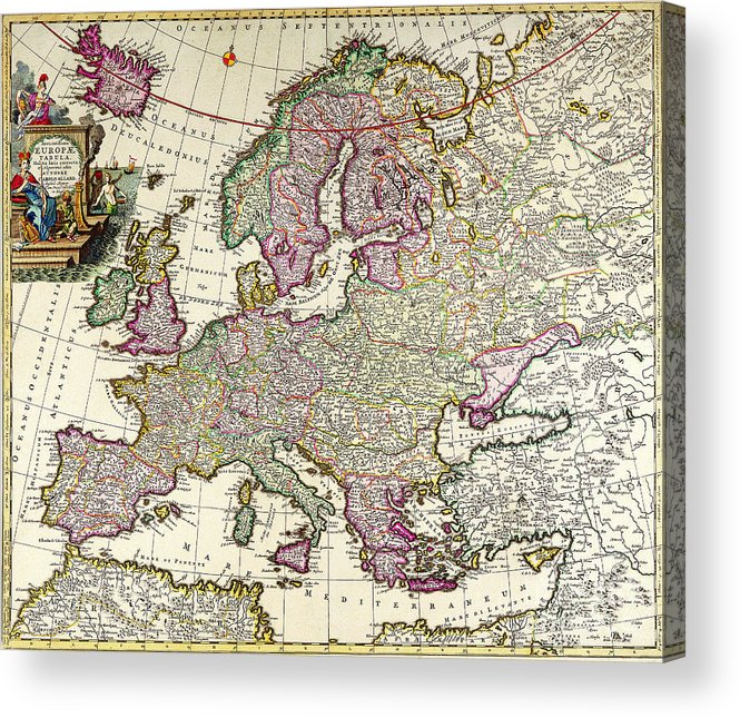 Antique Maps Of The World Map Of Europe Carl Allard C 1700 Acrylic ...