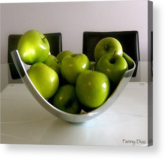 Green Acrylic Print featuring the photograph Apples In A Silver Vase by Fanny Diaz