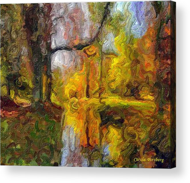Landscape Lake Tree Water Acrylic Print featuring the mixed media At The Lake by Carola Ann-Margret Forsberg