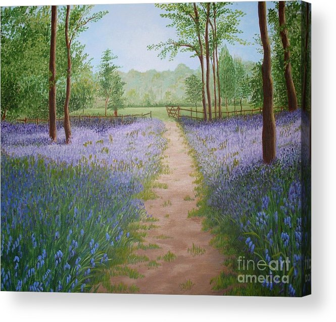 Bluebell Acrylic Print featuring the painting Bluebells by Julia Underwood
