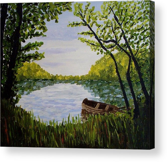 Landscape Acrylic Print featuring the painting By The Lake by Mats Eriksson