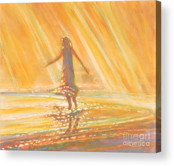 Dancing Acrylic Print featuring the painting Dancing With Summer Rain Drops by Kip Decker