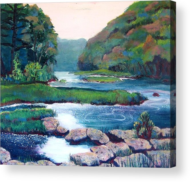 River Acrylic Print featuring the painting Dawn In West Virginia by Art Nomad Sandra Hansen