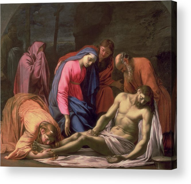 Deposition Acrylic Print featuring the painting Deposition by Eustache Le Sueur