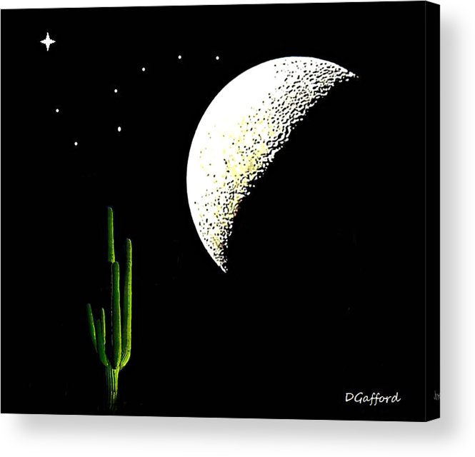 Desert Acrylic Print featuring the painting Desert Moon by Dave Gafford