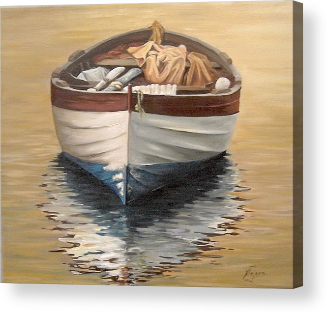 Boats Reflection Seascape Water Acrylic Print featuring the painting Evening Boat by Natalia Tejera