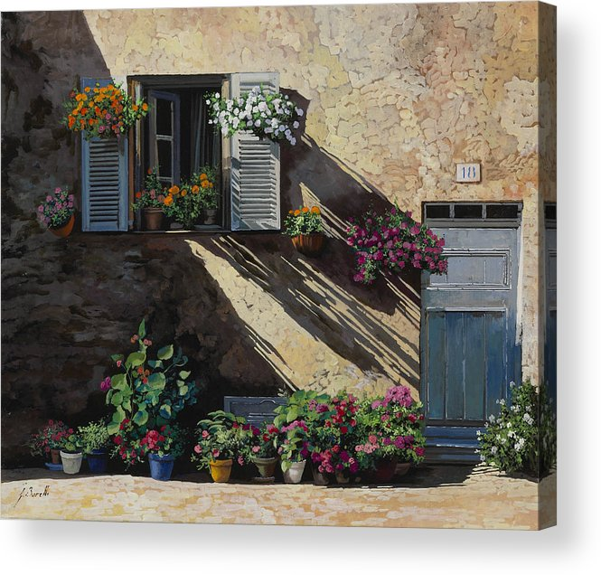 Streetscene Acrylic Print featuring the painting Facciata In Ombra by Guido Borelli