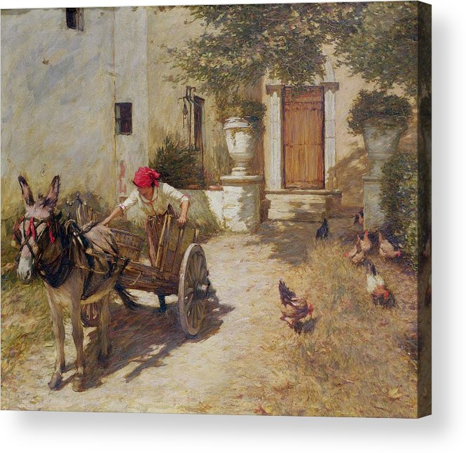 Farm Acrylic Print featuring the painting Farm Yard Scene by Henry Herbert La Thangue