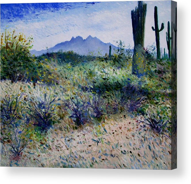 Phoenix Arizona. Enver Larney Acrylic Print featuring the painting Four Peaks Phoenix Arizona Usa 2003 by Enver Larney