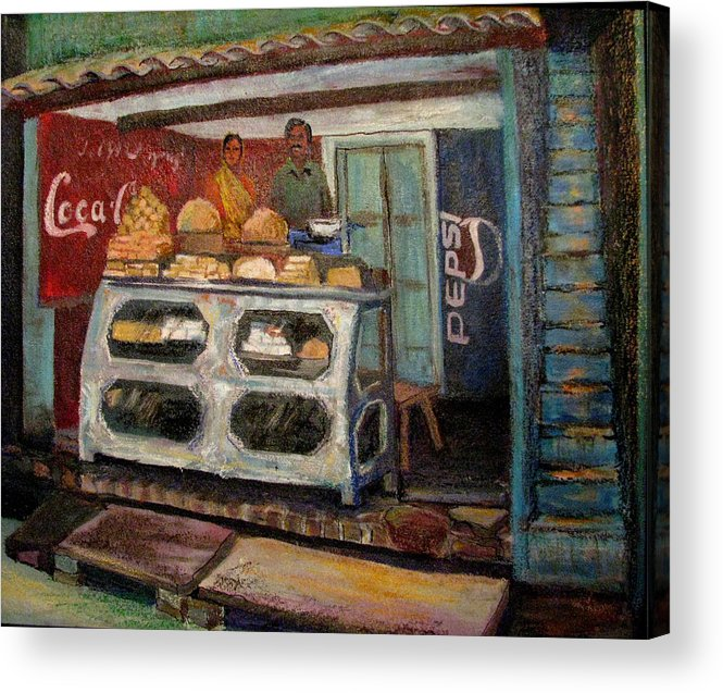 Gajak Acrylic Print featuring the painting Gajak Sweet Shop Orchha by Art Nomad Sandra Hansen