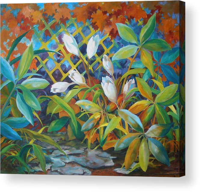 Oil Painting;flower Painting; Trellis;white Flowers; Leafy Plants; Warm Colors; Acrylic Print featuring the painting Garden Path by Lois Mountz