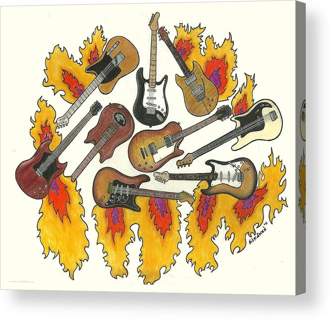 Guitars Acrylic Print featuring the drawing Greatest Guitars by Steve Weber