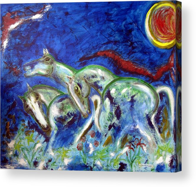 Horse Acrylic Print featuring the painting Green Horses by Narayanan Ramachandran