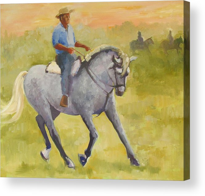 Horses Acrylic Print featuring the painting Horseman 3 by Podi Lawrence