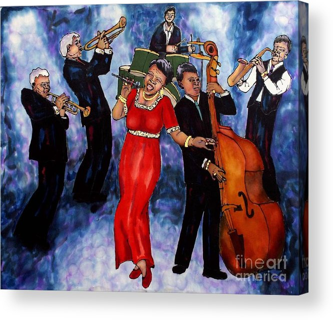 Jazz Acrylic Print featuring the painting Jazz Band by Linda Marcille