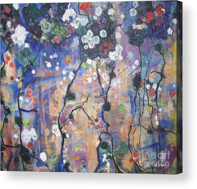 Lichen Paintings Acrylic Print featuring the painting Lichen by Seon-Jeong Kim