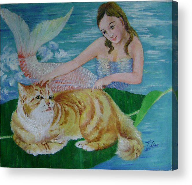 Fantasy Acrylic Print featuring the painting Mermaid And Cat by Lian Zhen