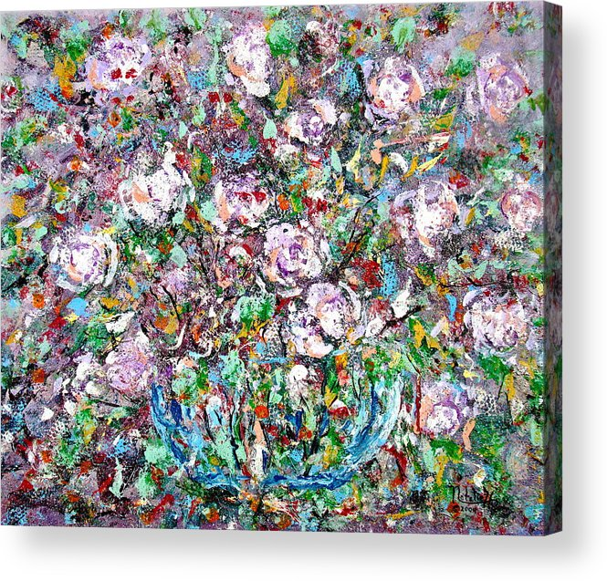 Abstract Acrylic Print featuring the painting Purple Passions by Natalie Holland
