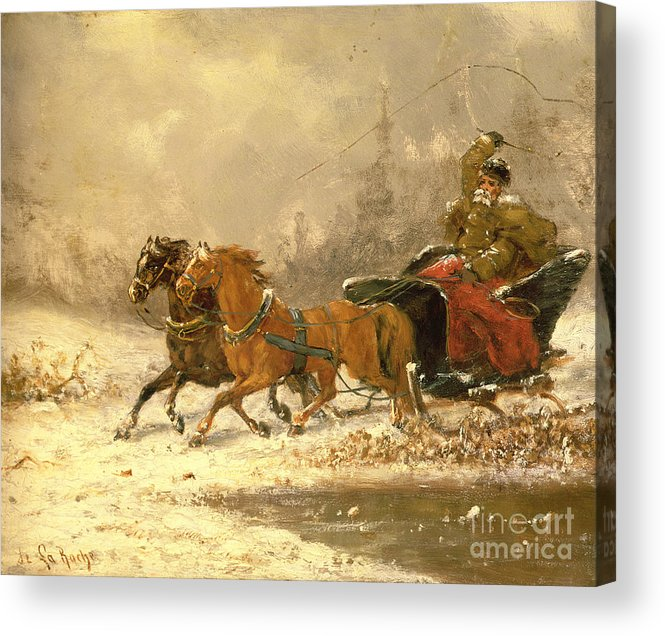 Returning Acrylic Print featuring the painting Returning Home In Winter by Charles Ferdinand De La Roche
