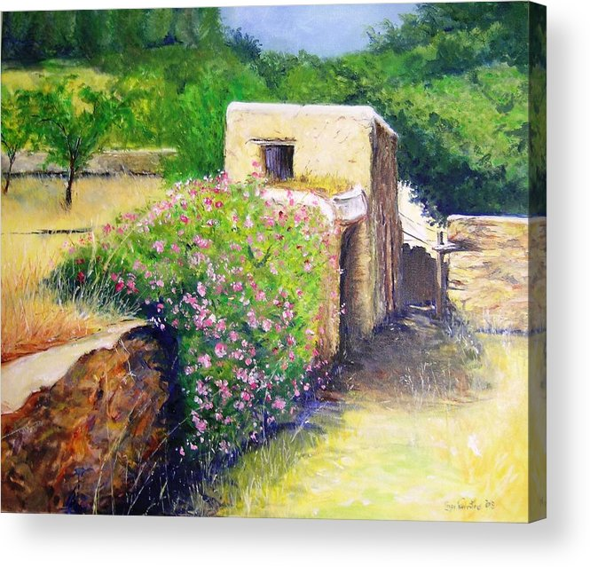 Bucolic Acrylic Print featuring the painting Rustic Landscape by Lizzy Forrester