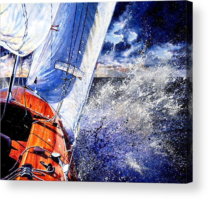 Sailboat Painting Acrylic Print featuring the painting Sailing Souls by Hanne Lore Koehler